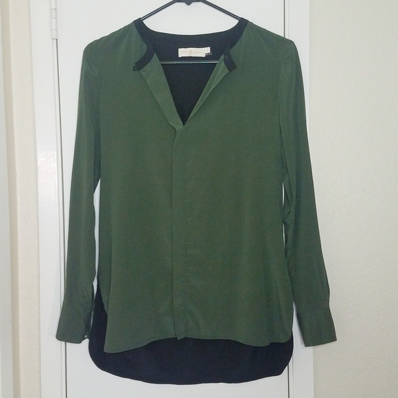 Tory Burch Tops - Tory Burch Silk Blouse Green & Black Size 0